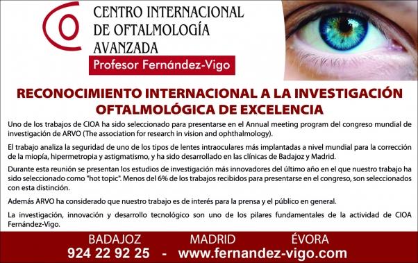 RECONOCIMIENTO INTERNACIONAL A LA INVESTIGACIÓN OFTALMOLÓGICA DE EXCELENCIA